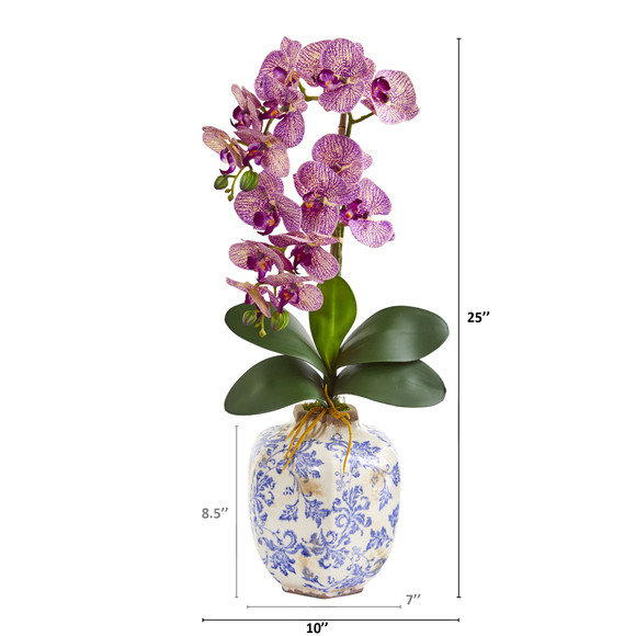 25 Phalaenopsis Orchid Artificial Arrangement in Decorative Vase - SKU #A1220 - 5